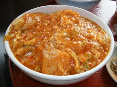 桃華楼エビチリ卵とじ丼2