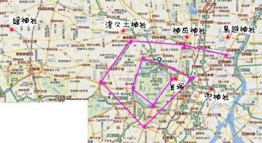 将門公遺跡と江戸の都市計画構成地図