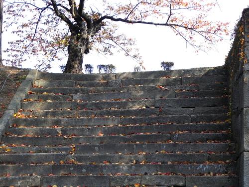 会津若松・鶴ヶ城のあたりの階段・・・登ってみなかったけど上には何があるんだろう・・・