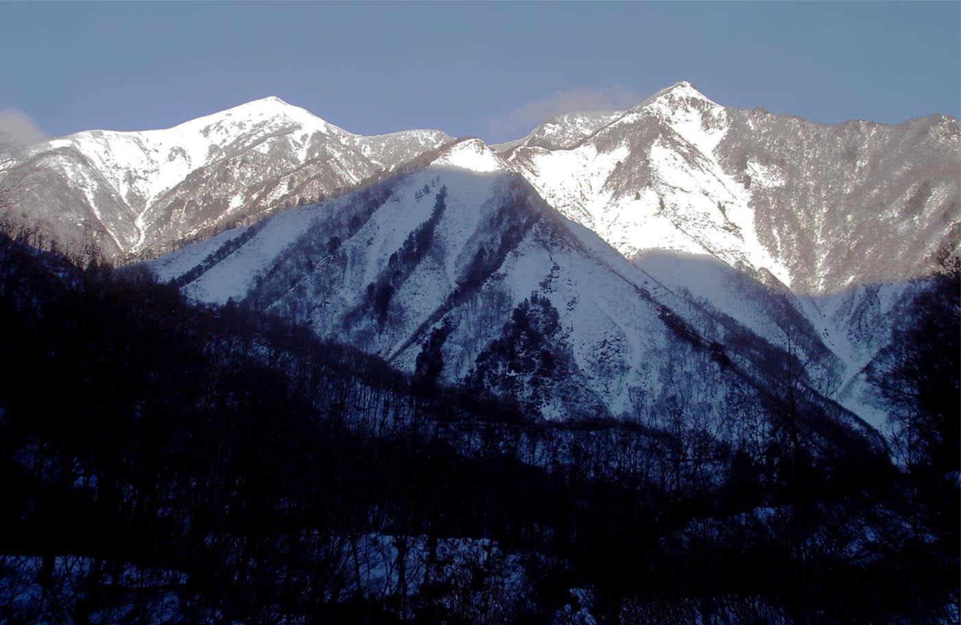 笠ヶ岳と白毛門