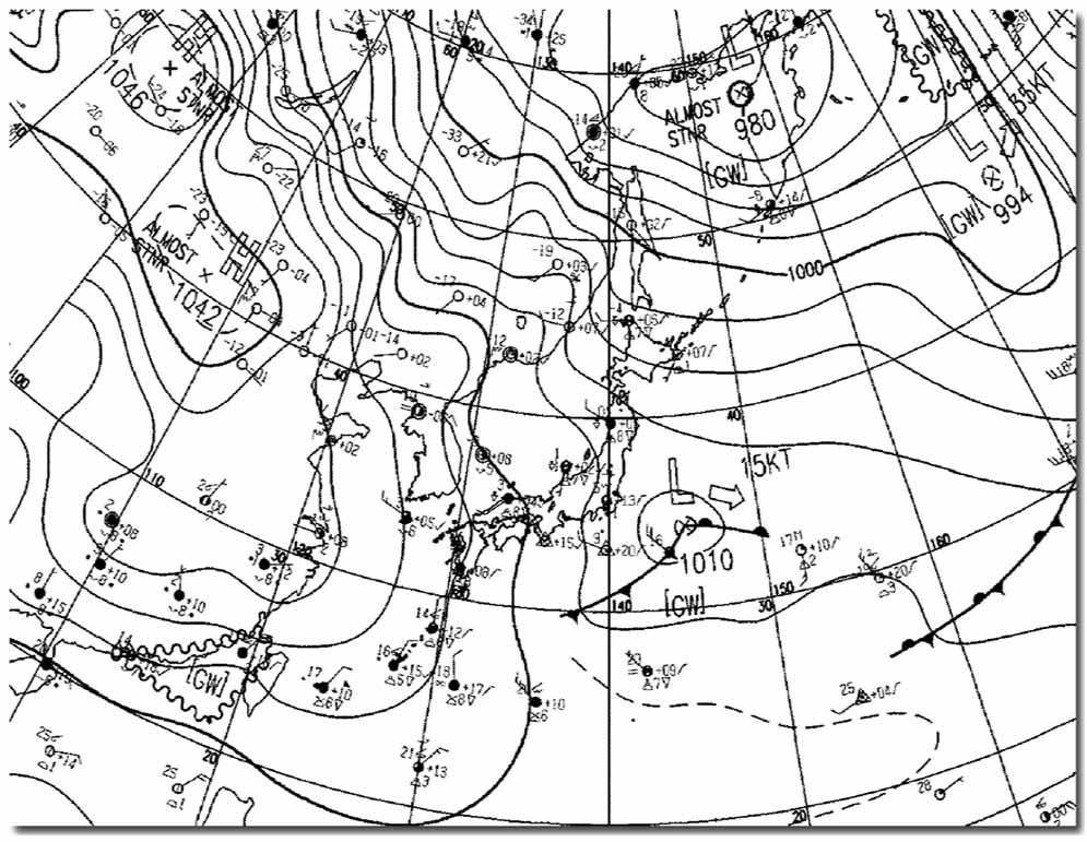 1月23日9時の地上天気図
