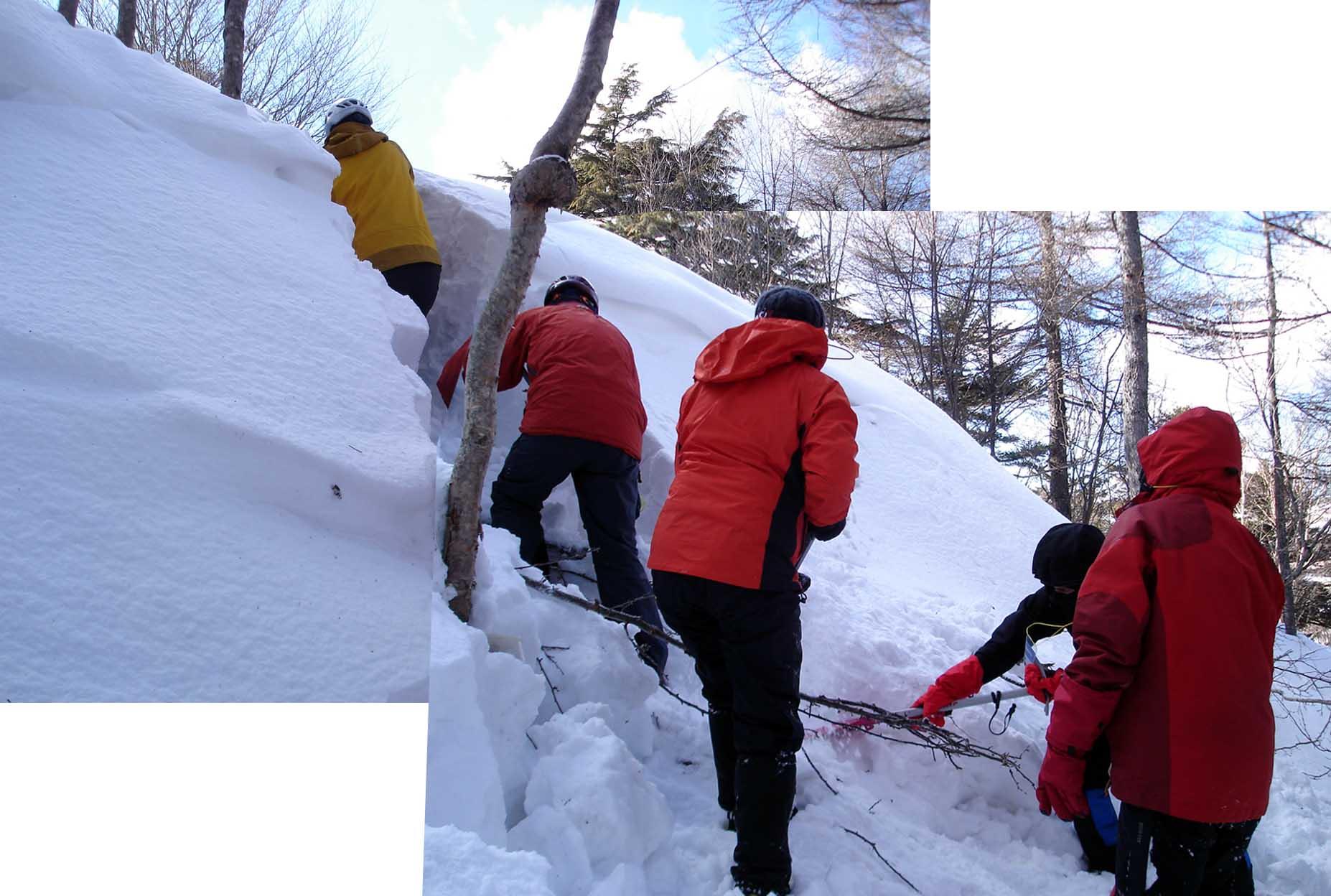 (15)吹き溜まり(雪庇)の掘り出し