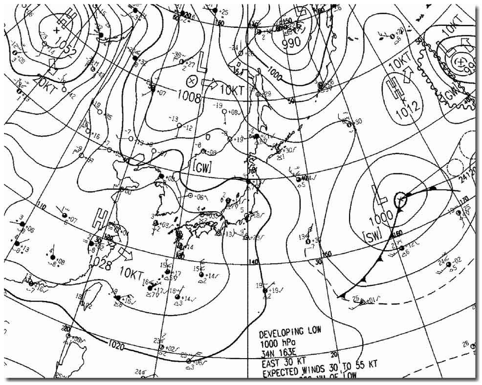 1月24日9時の地上天気図E