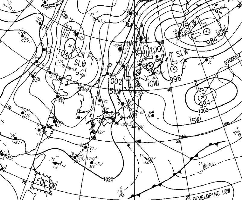 2月6日9時の地上天気図