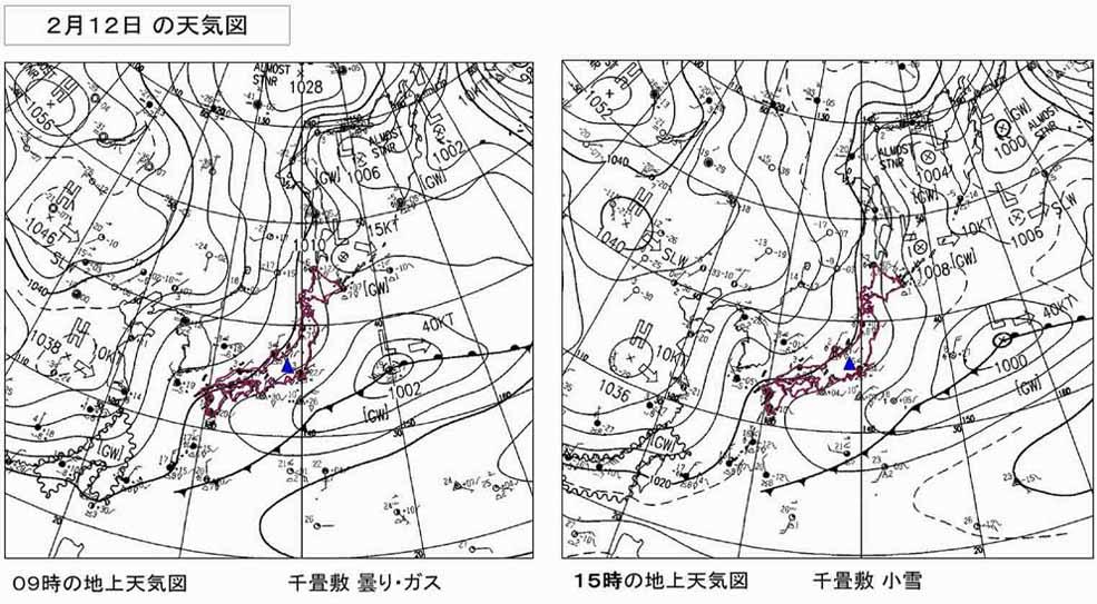 2月12日の様子(地上天気図)