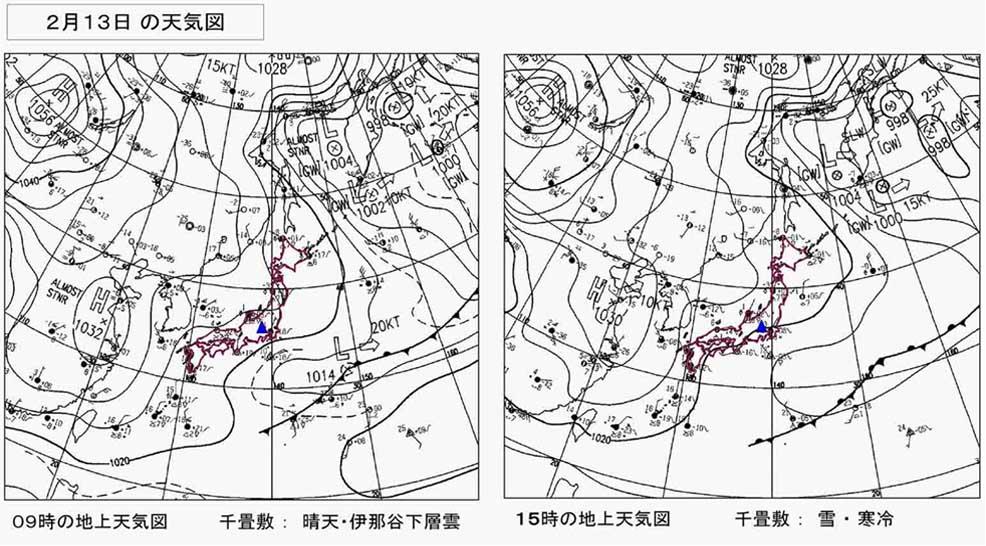 2月13日の様子(地上天気図)