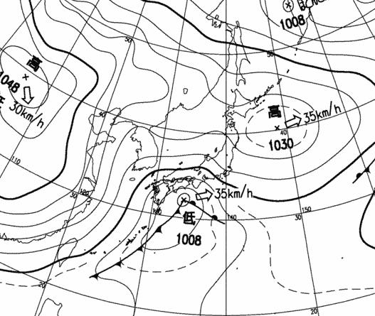 気象庁天気図 2010年3月9日12時