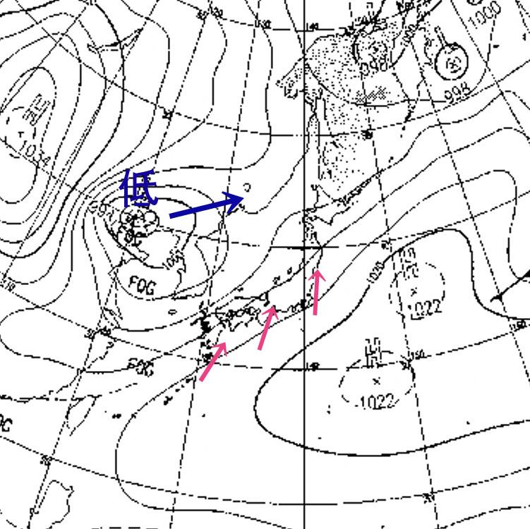 3月20日の予想天気図と南風