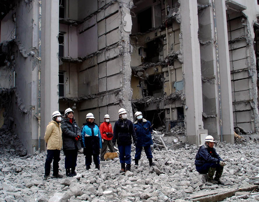 瓦礫現場捜索基礎訓練⑦ 犬の行動を観察
