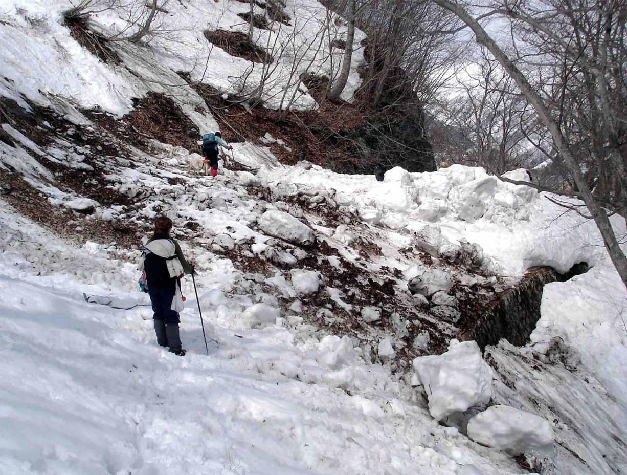 雪中訓練(15) 一ノ倉沢への道(デブリ)