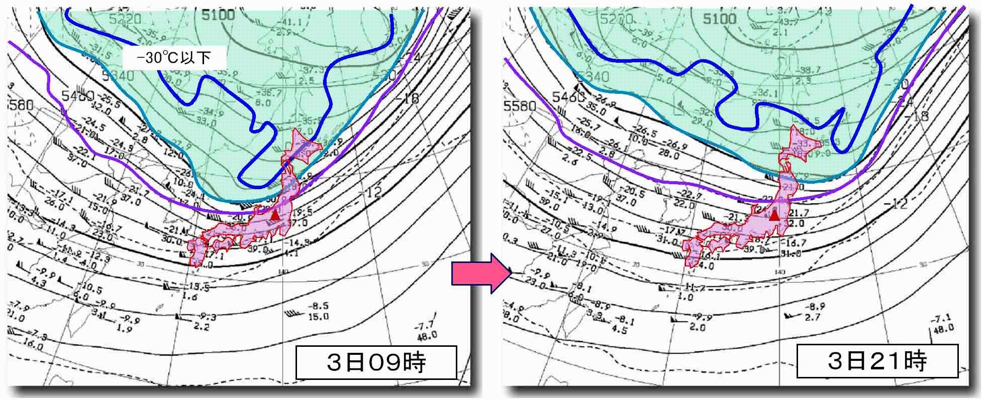 4月3日09時と4日21時の500hP高層天気図