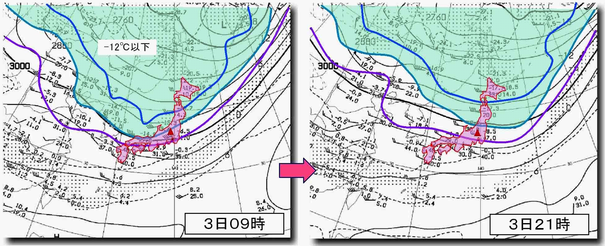 4月3日09時と4日21時の700hP高層天気図