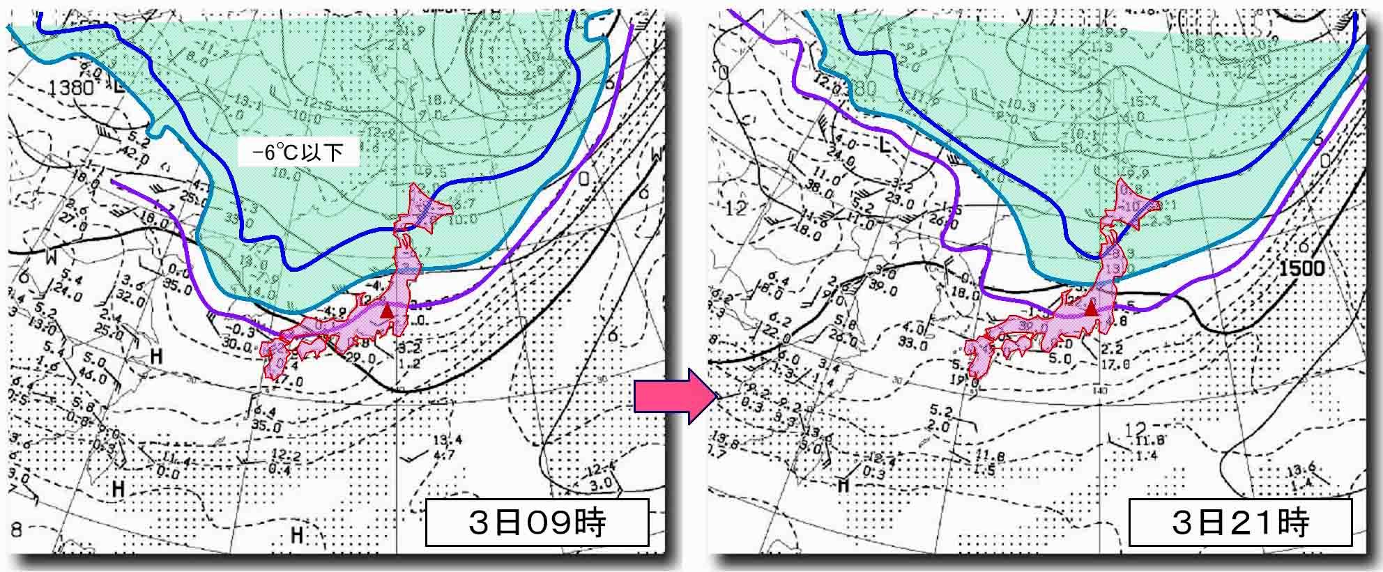 4月3日09時と4日21時の850hP高層天気図