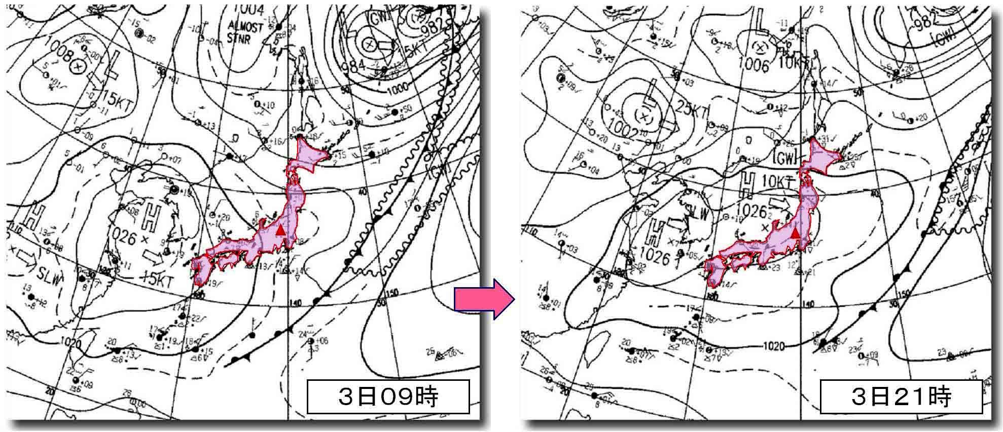 4月3日09時と4日21時の地上天気図