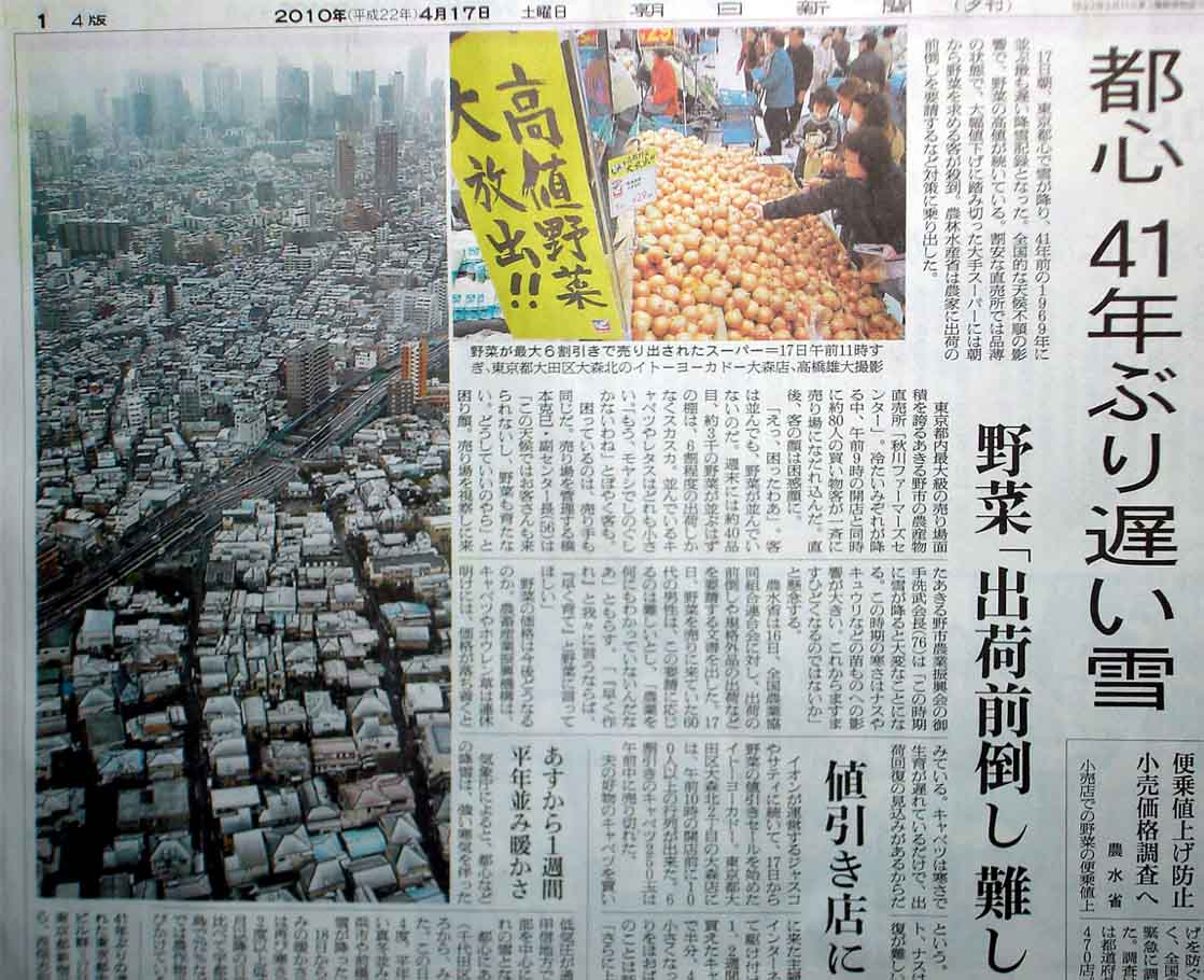 都心の雪 新聞記事(20100417)
