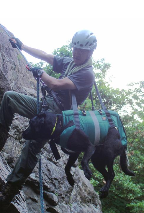 犬と懸垂下降④(肩掛け)