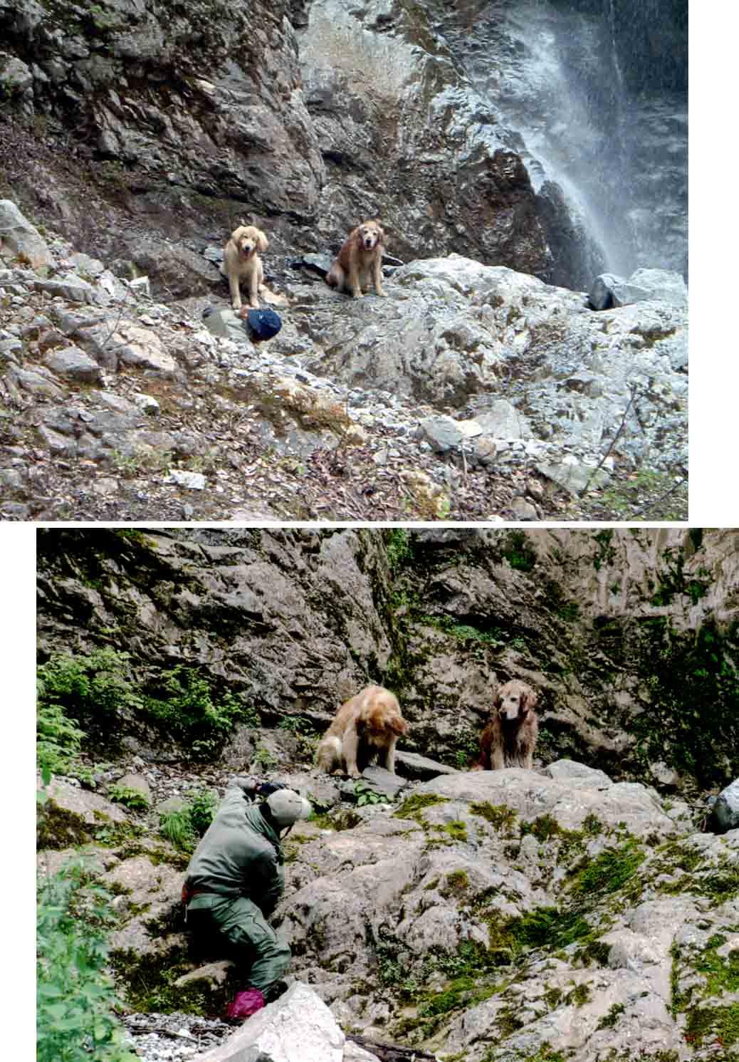 巫女滝での撮影模様(2003、2004年)