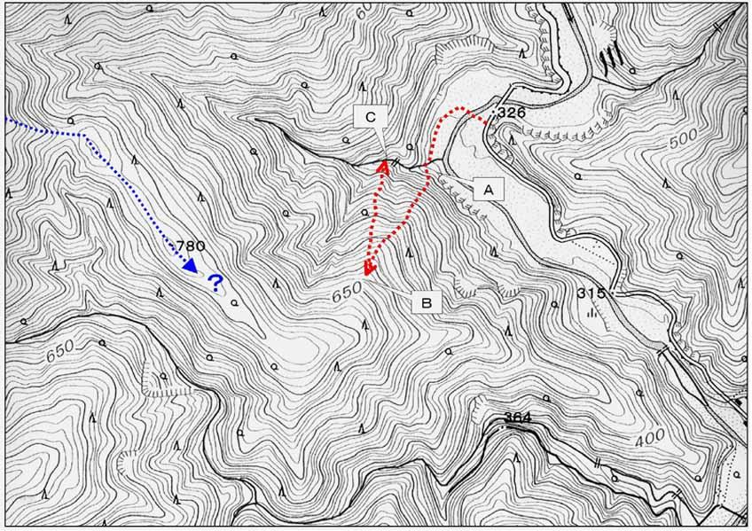 二王山捜索(20070131)のルート地図①
