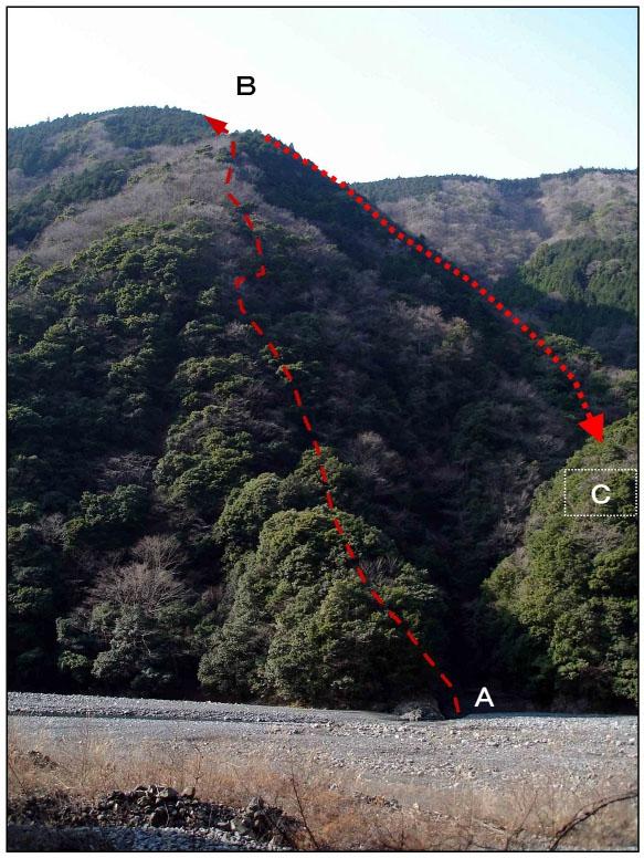 二王山捜索(20070131)山の写真(B→C)