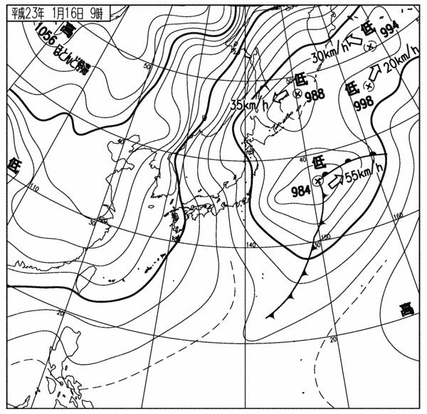 気象庁天気図 11011609
