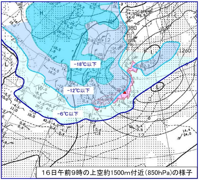 ★1月16日上空1500m付近の様子