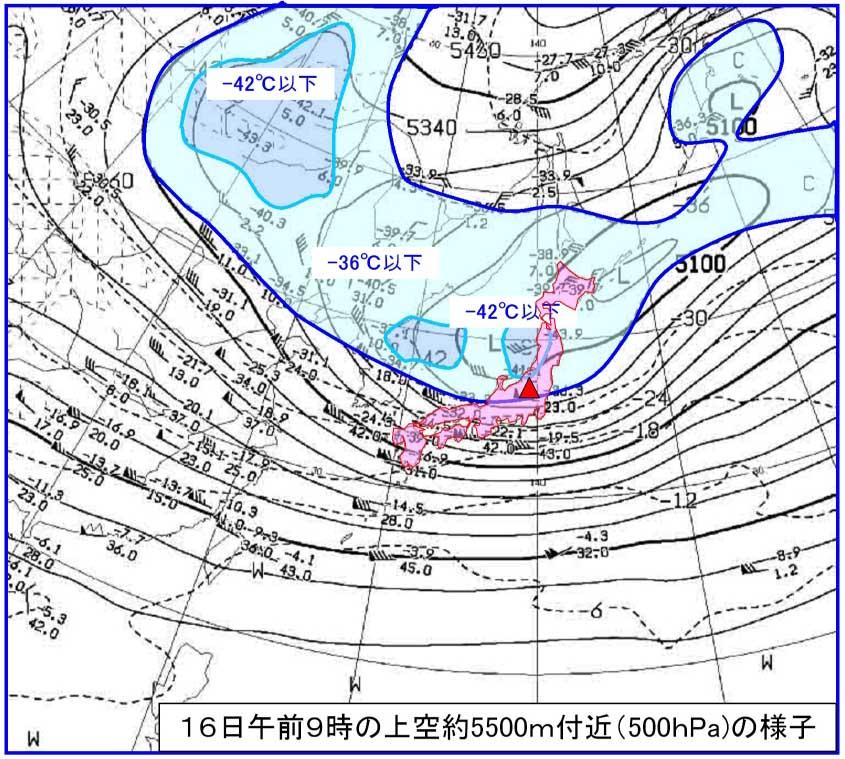 ★1月16日9時の上空5500m付近