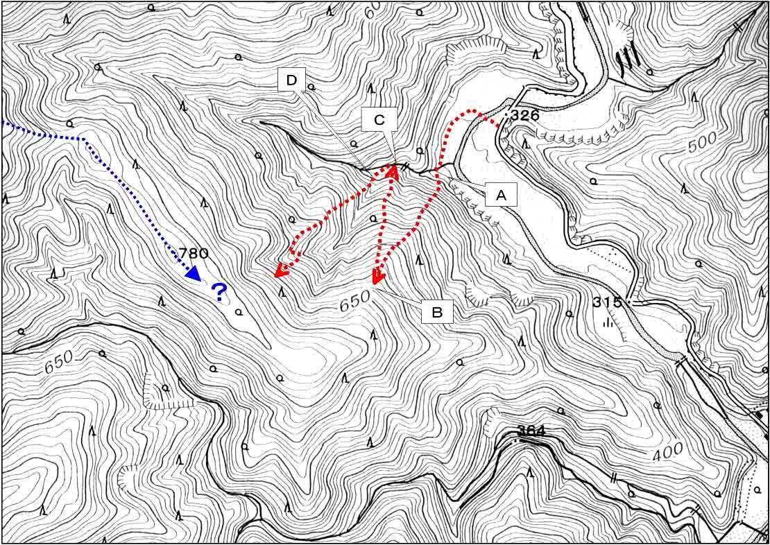 二王山捜索(20070131)のルート地図②