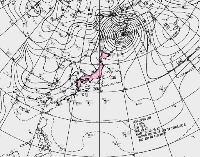 2月10日21時の地上天気図
