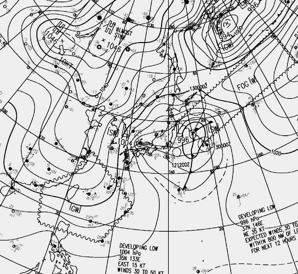 2月12日09時の地上天気図