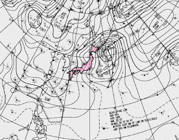 2月12日21時の地上天気図
