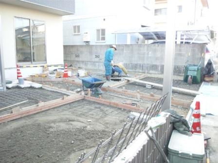 外構工事土間打ち