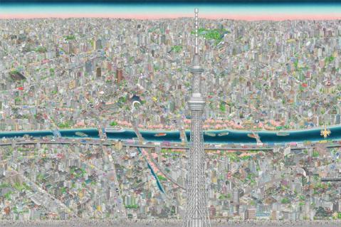 スカイツリーの1階に描かれた巨大な東京の街を見に行きたい