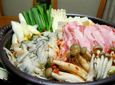 091219牡蠣と豚肉のスンドゥブ鍋