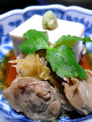 100118ごま豆腐とはまぐりのしぐれ煮