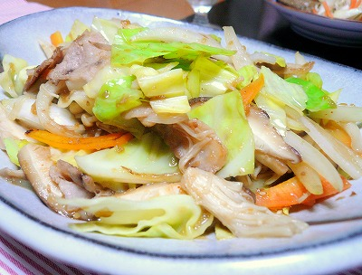 100208手作り焼き肉のたれで野菜炒め