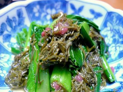 100301小松菜の梅めかぶ和え