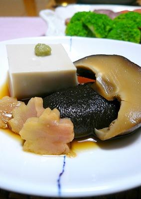 100305ごま豆腐と椎茸の煮物