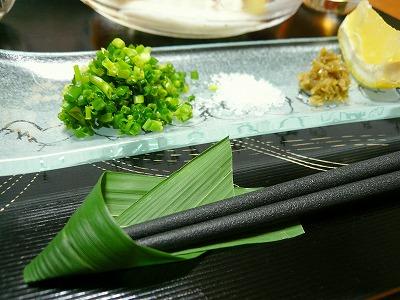 100726薬味と笹の葉箸置き