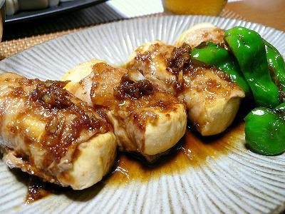 100825豆腐のブタ肉巻きスタミナ味