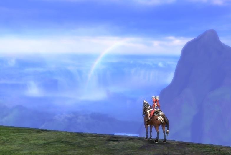 山から見た景色(虹)