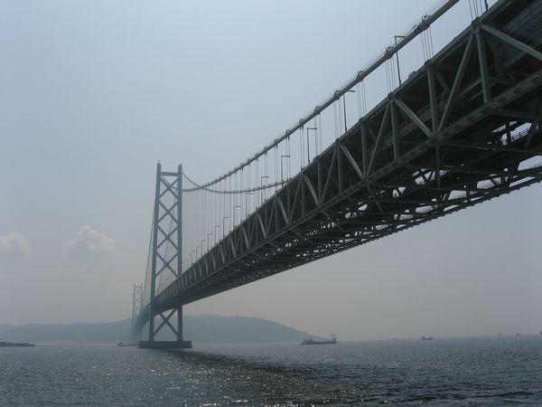明石海峡大橋を真下から見上げる