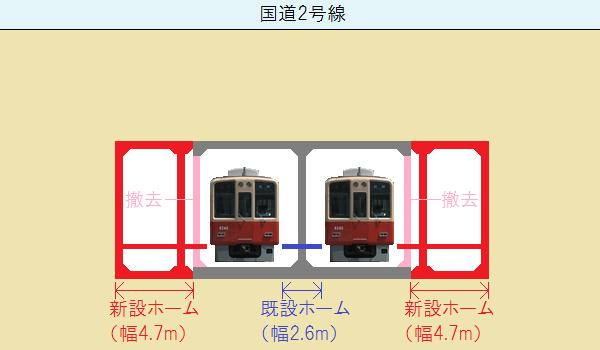 春日野道駅の断面