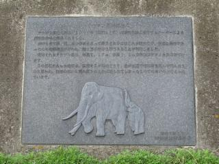 途中の斜面に設置されているナウマン象発掘地点の石碑
