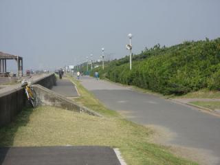 検見川の浜の砂浜沿いを走る