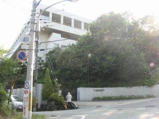 県道沿いにある夙川学院短大