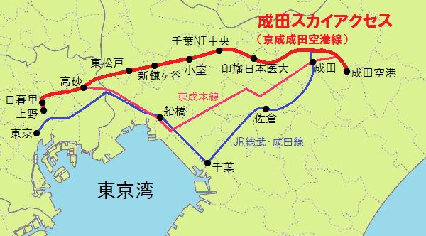 成田スカイアクセスのルート図