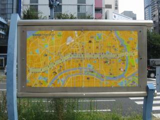 東天満交差点付近にあった曽根崎通のイラストマップ