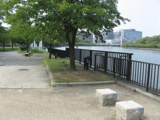 奥に見える水色の柱が大阪水上バスの桟橋。その周囲も柵の高さが異なる。