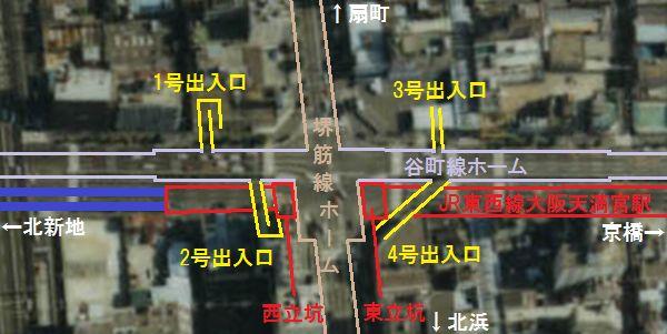 南森町交差点地下の構造物の位置関係