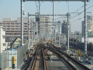 石神井公園駅の先にある急行線・緩行線の振り分けポイント